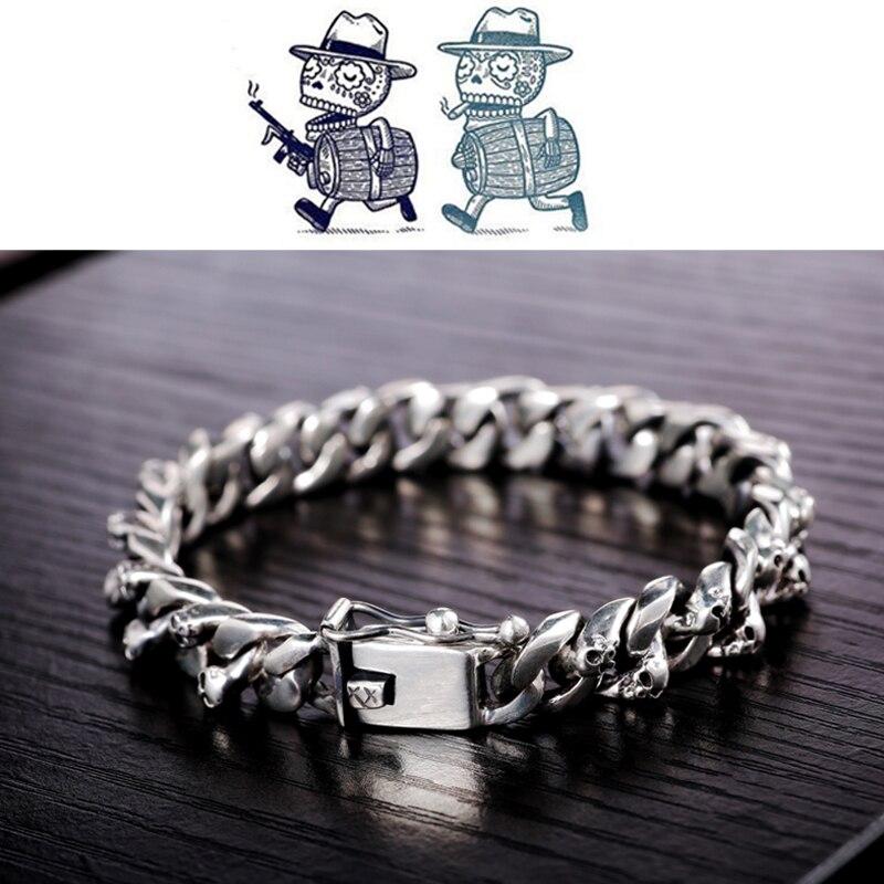 Ultimate DealÎZABRA Skull Bracelet 925-Sterling-Silver Jewelry Link-Chain Vintage Authentic Punk Men