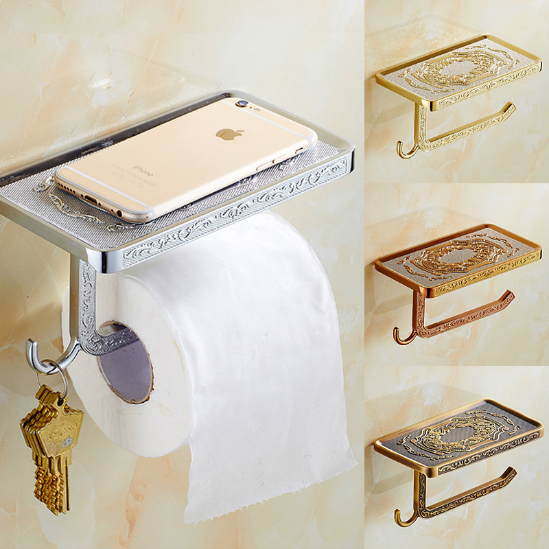 ФОТО Artistic  Bathroom Paper Holder Bar Carving Patterns Wall Mounted Brass Roll
