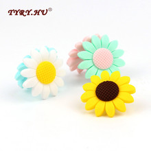 TYRY.HU 5pcs Sunflower Silicone Beads Food Grade Baby Chewable Teething Beads For DIY Silicone Baby Pacifier Teether Necklaces let s make baby teether unfinished silicone hex beads set chewable food grade wooden beads diy teething necklace made beads