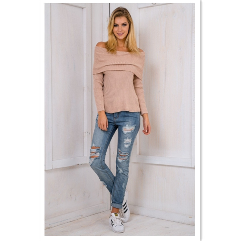 Spring popular new fashion personality temperament strapless cuffs sexy solid color long sleeved women 39 s sweater in Pullovers from Women 39 s Clothing