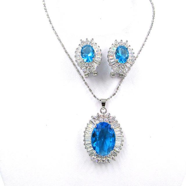 Azul con encanto Joyería Cristalina Austríaca Establece 18 K oro Aretes Collar de Conjuntos de Anillo Circones Para Las Mujeres/Los Amigos de las niñas de Navidad