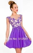 Cheap Purple Homecoming Dresses Sheer Crew Neck Mini Sheath Beads Applique Ruffle Chiffon yk-G041S