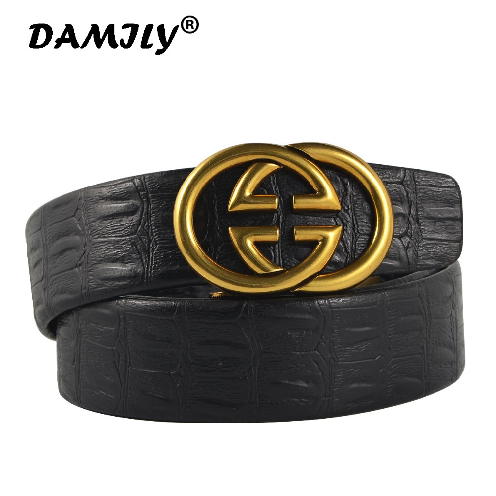 Fashion Brand Men's   Belt   Good Quality Genuine Leather   Belts   For Men Waist Strap With Cool Tide Metal Automatic Buckle
