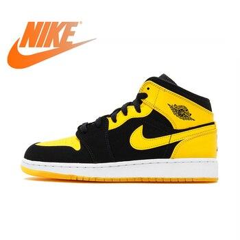 5251a042a Nike Air Jordan 1 De AJ1 Original auténtico negro amarillo Joe zapatos de  baloncesto de los