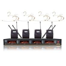 Bolymic 4 канала беспроводной микрофон UHF PLL Разнообразие беспроводной Бежевый гарнитура головной убор микрофон