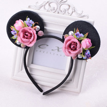 Rose Minnie Mouse Ears Flower Headband Girls Cat Ear Floral Hairband For Kid Girl Woman Party Hair Accessories