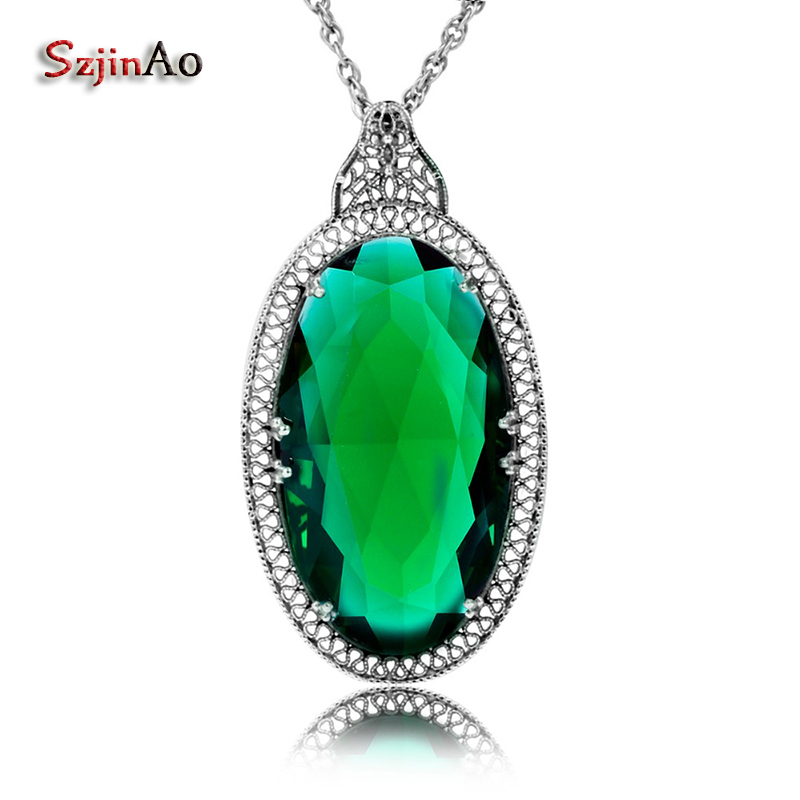 Szjinao Undertale Jewelry Russian 15.7ct Oval Stone Emerald 925 Sterling Silver Pendant Punk Fashion Jewelry For Women