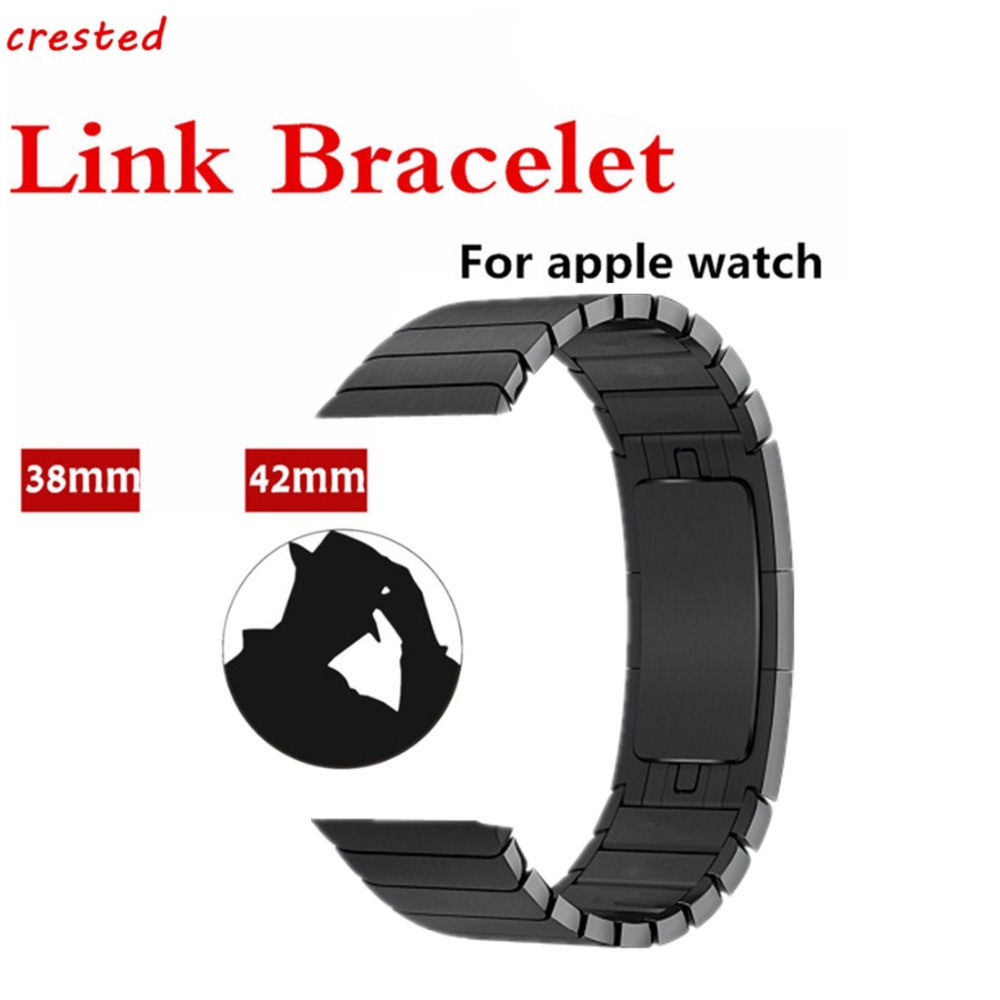 CRESTED Stainless Steel Strap For Apple Watch Band 42mm/38mm iwatch 3 2 1 wrist band Link Bracelet Arc Clasp Watch Belt Strap