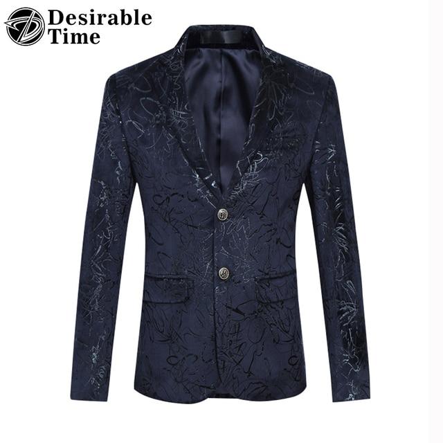 Желательно Время Люди Вскользь Цветочные Пиджак М-6XL 2017 Новая Мода Бренд Мужской Slim Fit Темно-Синий Этап Куртка DT367