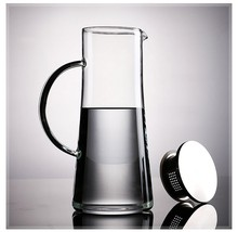 High Borosilicate Heat-resisting Cold Water Kettle Stainless Steel Bring Cover Filter Teapot 1500 Milliliter Glass