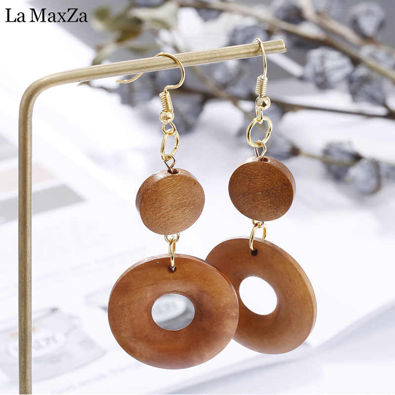 Natural Wood Earring Wooden Earrings For Women Ethnic Exaggerated Statement Round Circles Dangle Earrings Girls Fashion Jewelry