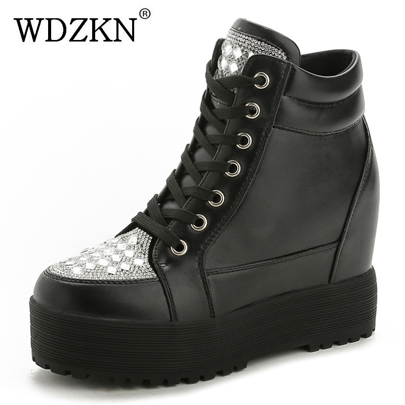WDZKN Fashion Rhinestones Height Increasing Ankle Boots For Women Wedge Platform Boots Women Casual Shoes Chaussure Femme wdzkn 2017 platform wedge casual shoes women high heels black white height increasing women shoes female chaussure size 35 40
