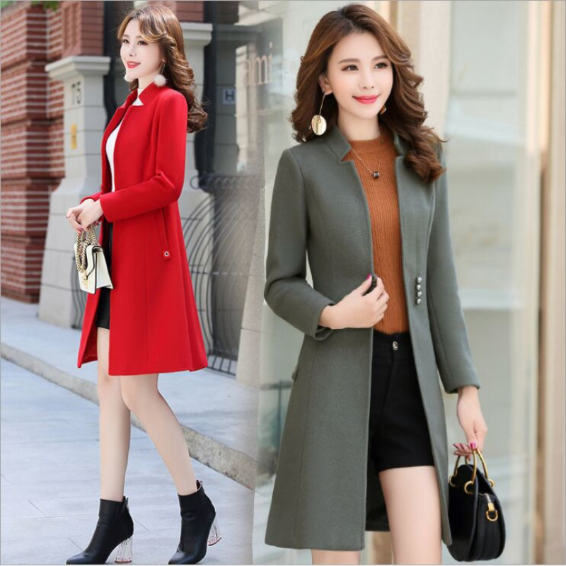 Elegant Woolen Coat Jacket 2019 Winter New Women Unique Chic Button Slim Stand Collar Woolen Outerwear Overcoat Casaco Feminino-in Wool & Blends from Women's Clothing    1