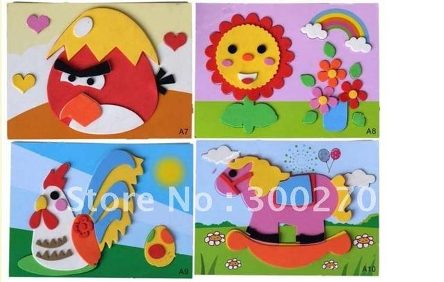 Free Shipping 10pcs/lot Entry-level EVA handmade collage handmade toys of the DIY manual kindergarten