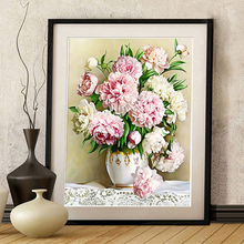 Peony Flowe Diamond Embroidery Painting 5D DIY Handmade Round Full Cross Stitch Christmas Gift