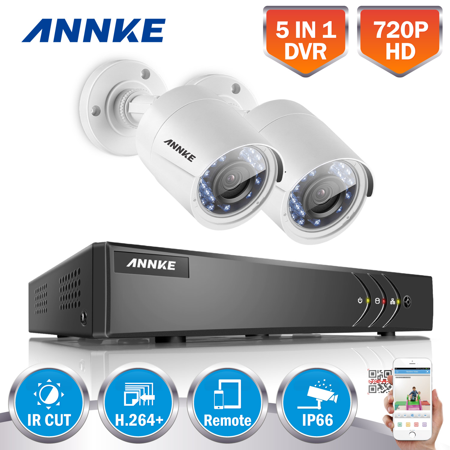 ANNKE 4CH HD 720P TVI 1080N DVR 2pcs 1500TVL Outdoor IR Day Night Security Camera Surveillance System 1TB HDD DE
