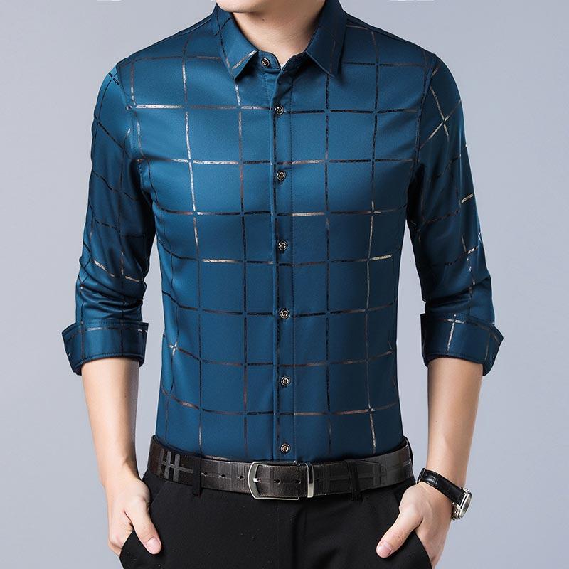 2020 Brand Casual Spring Luxury Plaid Long Sleeve Slim Fit Men Shirt Streetwear Social Dress Shirts Mens Fashions Jersey 2309 11