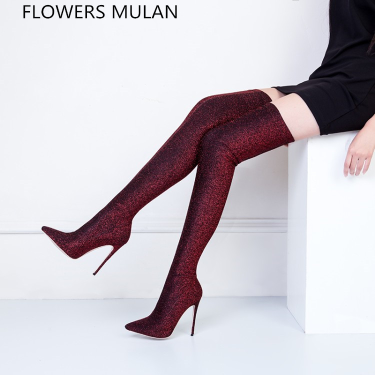 2018 New Spring High Fashion Super Star Sock Boots Over Knee Sexy Pointed Toe High thin Heels Catwalk Lady Shoes Elastic Fabric sexy supermodels catwalk shoes super high heels shoes 20 cm cos props nightclub paris fashion boots