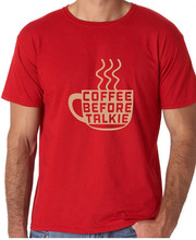 Customised T Shirts Short Coffee Before 100% Cotton Crew Neck Tee For Men
