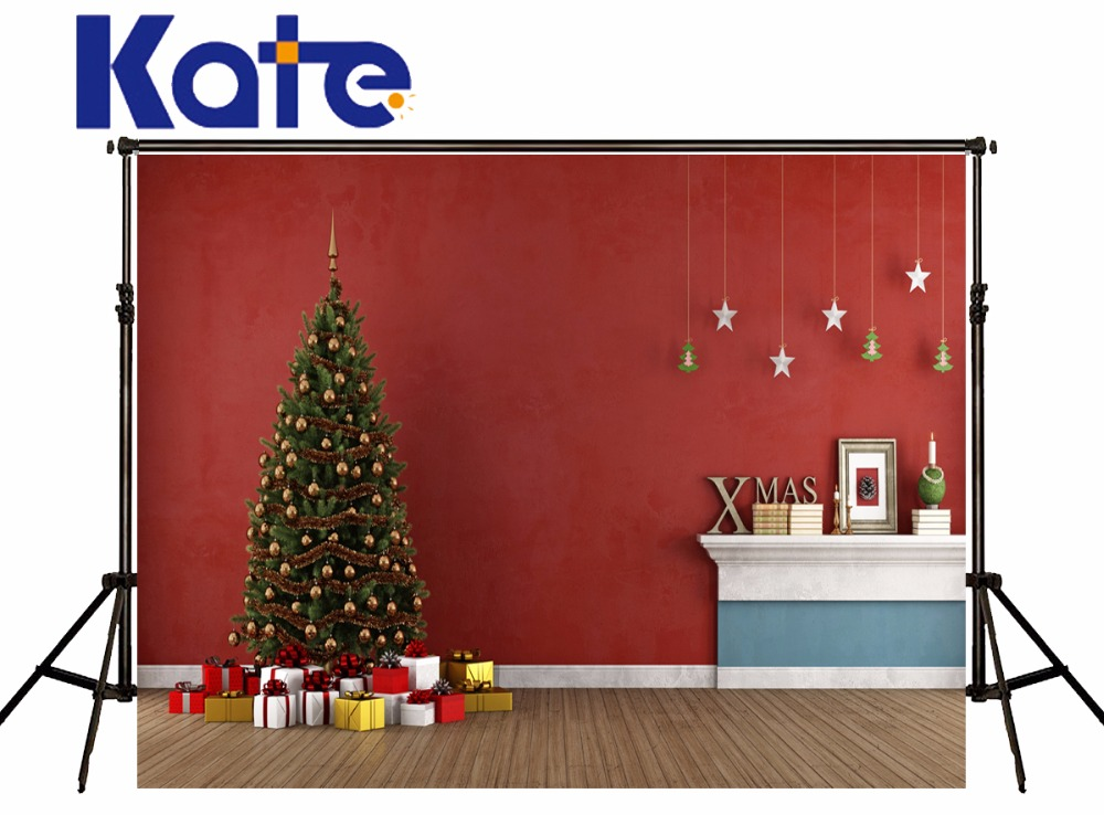 KATE Photography Backdrops 10X10FT Christmas Tree Backdrop Arbol De Navidad  Madera Gift Box Photo Vintage Wood Floor Backdrop silla de director plegable de madera con bolsas para maquillaje pelicula studio hw46460
