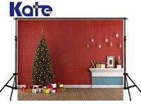 KATE Photography Backdrops 10X10FT Christmas Tree Backdrop Arbol De Navidad Madera Gift Box Photo Vintage Wood Floor Backdrop