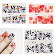 54pcs Nail Sticker Cute Unicorn Flower Colorful Water Transfer Decals Watermark Tattoos Full DIY Decorations Nail Art Set