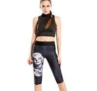 Yeni Sıcak Kadın Seksi Orta Buzağı Tayt Kız Ince Çalışan Spor Yoga Pantolon Elastik Dijital Baskı Nefes Mujer Kapriler