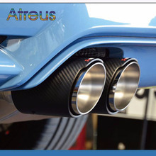 1X Universal Car Styling Akrapovic Exhaust Tip Carbon Fiber Muffler Pipe Car-styling For BMW Mini Cooper Automobiles Accessories