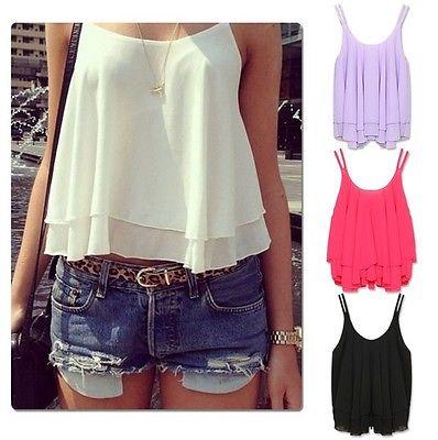 Sexy Women Summer Casual Sleeveless font b Shirt b font Chiffon Loose Vest Tank Top font