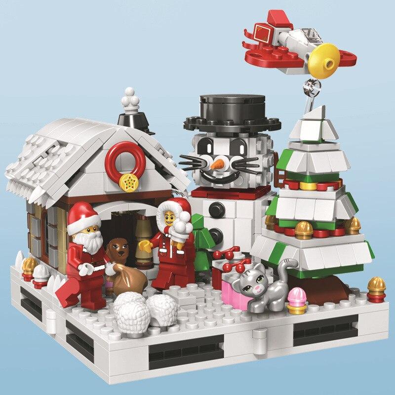 Weihnachten Spielzeug Block Winter Glücklich Urlaub Santa Claus Und Baby