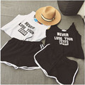 2016 Summer Loose Casual Two-piece Suit Letters Printed Sleeveless Vest Crop Top and Shorts 2 Piece Set Women Tracksuit