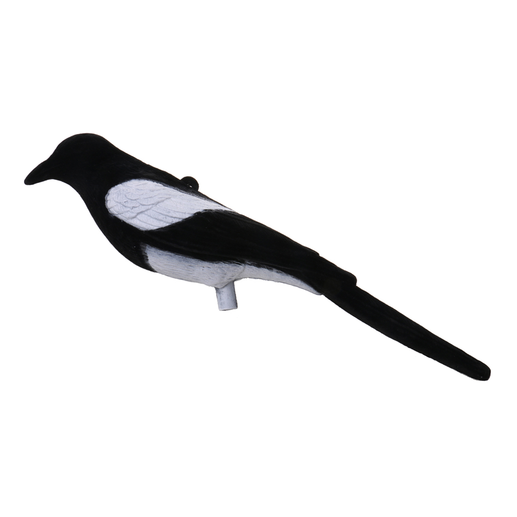 Plastic Flocked Magpie Decoy Bait Shooting Trap Decoying Hunting Decoy Bird for Outdoor Hunting Accessories