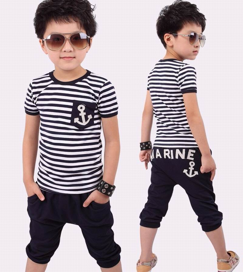 New 2016 Summer Clothing Sets Kids Pants + Top Boys Girls Navy Stripe Kids Clothes Children Tracksuit #ZY114