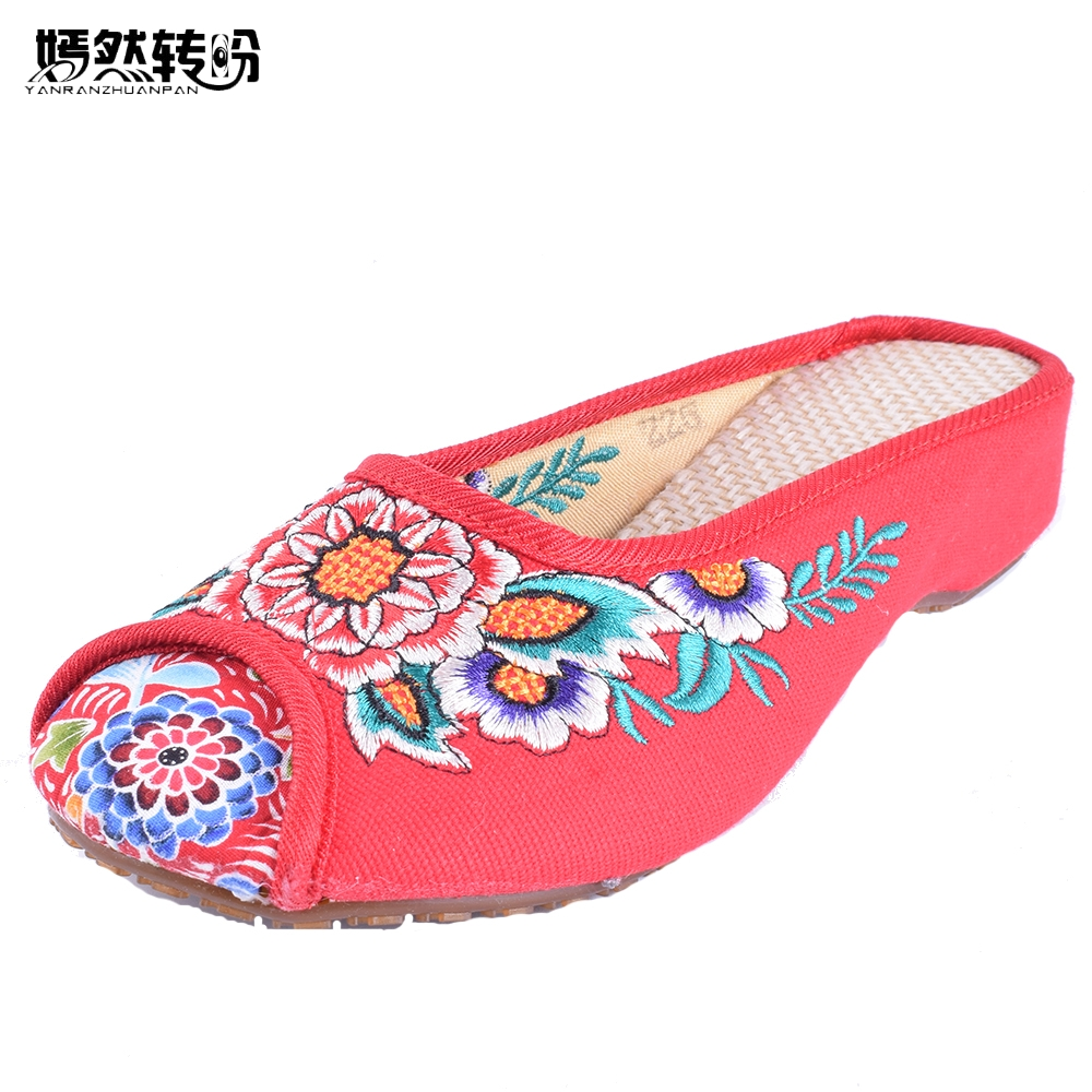 Ethnic Style Flats Shoes Women Old Peking Slippers Chinese Embroidery Soft Sole Casual Sandals Shoes Flip Flops