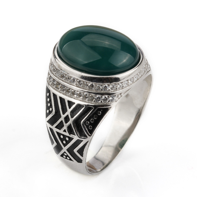 925 Sterling Silver Men Ring 3 Colors Green/Black/Brown Big Semi-precious Stone with Small Clear CZ for Men Jewelry