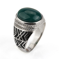 925 Sterling Silver Men Ring 3 Colors Green/Black/Brown Big Semi precious Stone with Small Clear CZ for Men Jewelry