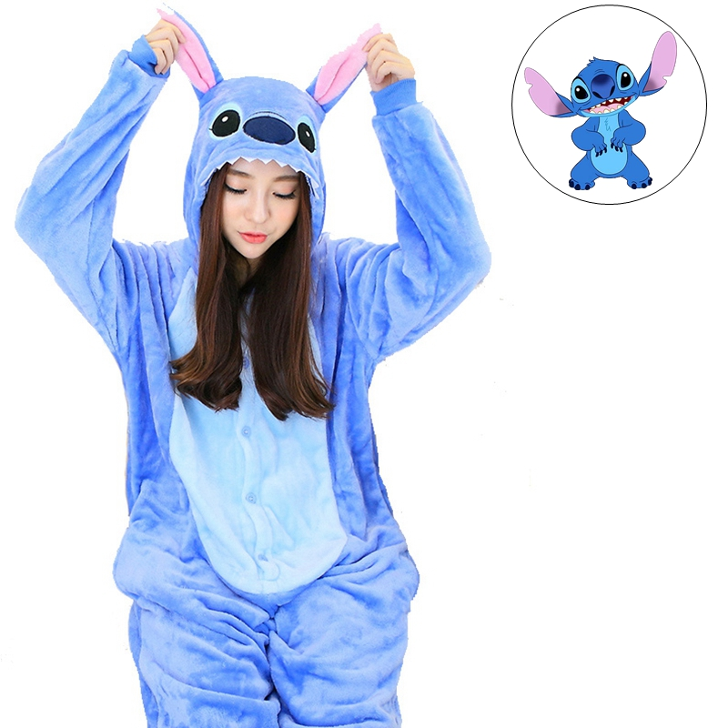 Christmas Stitch Stich Cartoon Winter Adult Unisex Wool Animal Pajamas Sets Sleepwear Onesies Pajama For Women Girl Couple Gift