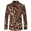 Camisas dos homens Slim Fit camisas de algodão de Moda Masculina estampa de Leopardo camisa de Manga Longa Plus Size camisas tamanho XS-3XL tamanho Z1029-Euro