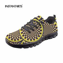 INSTANTARTS jovencita zapatillas de deporte de malla transpirable 3D sólido Vintage zapatos planos zapatos de gran tamaño de las mujeres pisos casuales mujer caminar Zapatilla