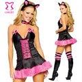 Negro/Rosa Animal Fox Cosplay Lencería Para Adultos juegos de Rol Disfraces de Halloween Costume Sexy Mujeres Del Vestido de Lujo Del Carnaval Fantasias