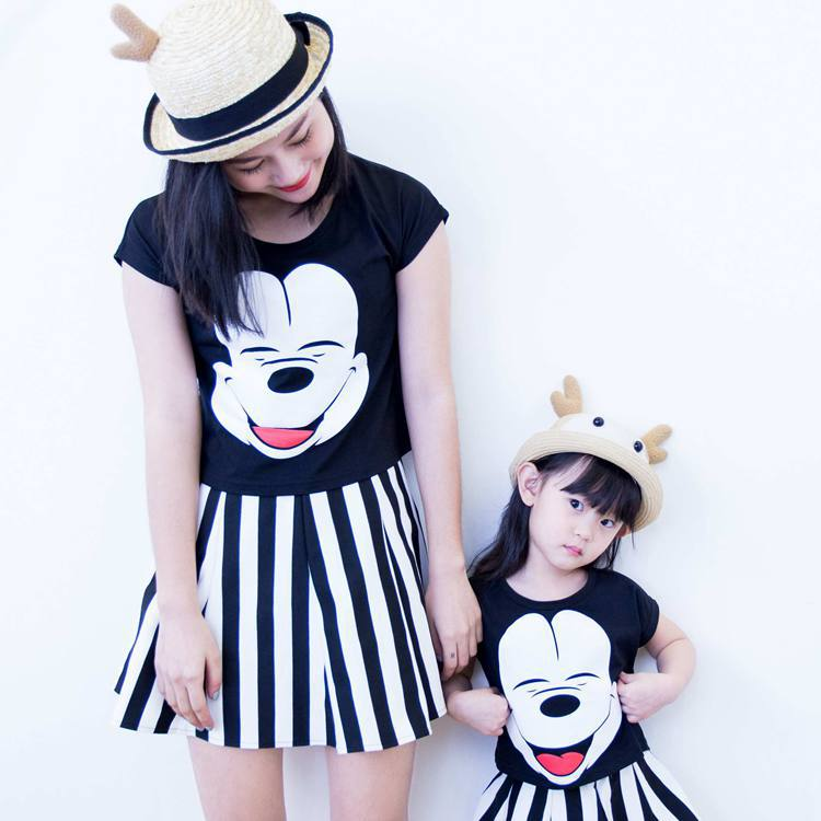 Mother Daughter Summer Sets 2pcs Tshirt+skirt Cartoon Mickey Family  Matching Outfits Stripe Mum Mommy and Me Women Girl Clothes-in Matching  Family Outfits ... 290a1d416