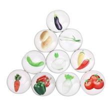 10Pcs Crystal Glass Fridge Magnet Souvenir Vegetables Fruits Magnets for Refrigerators Decor Kids