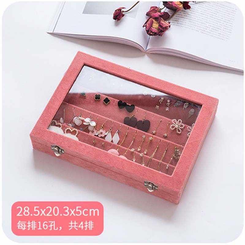 Mordoa L/M/S/Pink Velvet Glass Jewelry Display Box Jewelry Tray Holder Casket Storage Organizer 2019 Earrings Ring Box