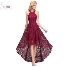 Stock Cheap Burgundy Lace Short Bridesmaid Dresses 2019 Halter Sleeveless Wedding Party Gown