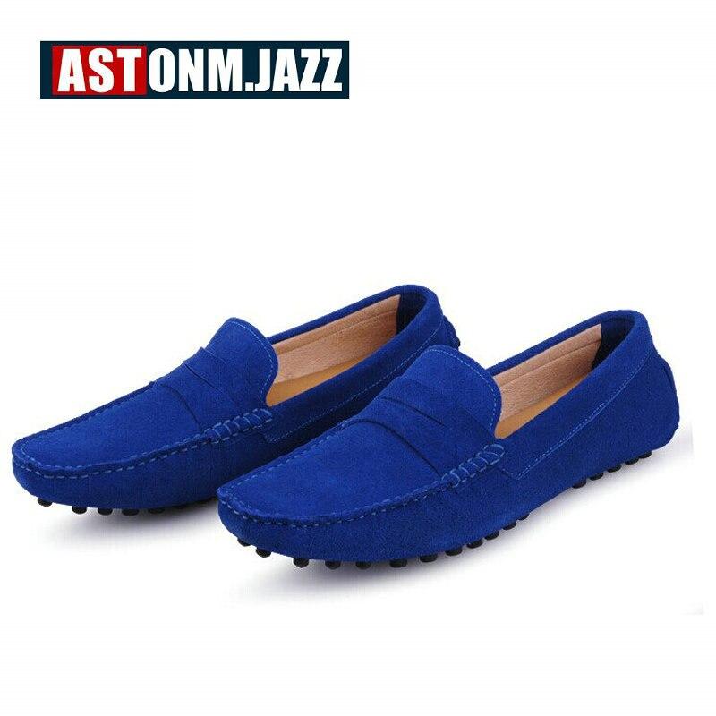 Dos homens Novos Casual Slip on Sneakers Homens Camurça De Couro Moccassins Mocassins Respirável Sapatos de Barco Sapatos Mocassins de Condução dos homens - 5