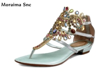 Moraima Snc hot sales 2018 colorful crystal decoration PU leather cut out summer sexy women beach shoes flat square sandals