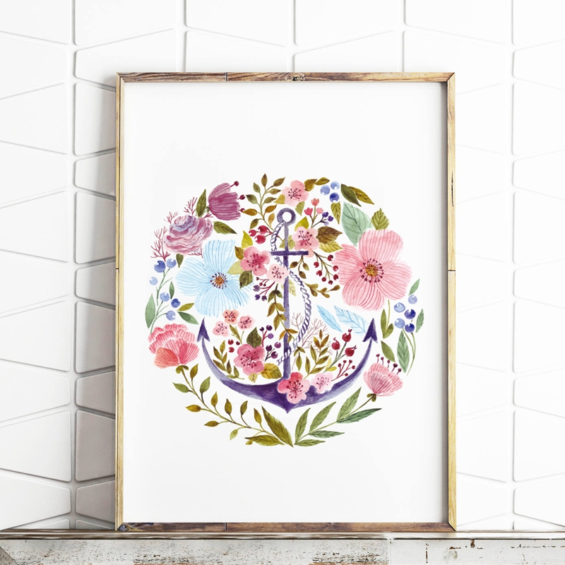 Hand Drawn Watercolor Anchor with Flower Wall Art Canvas Painting Nordic Posters and Prints Wall Picture Nautical Art Home Decor(China)