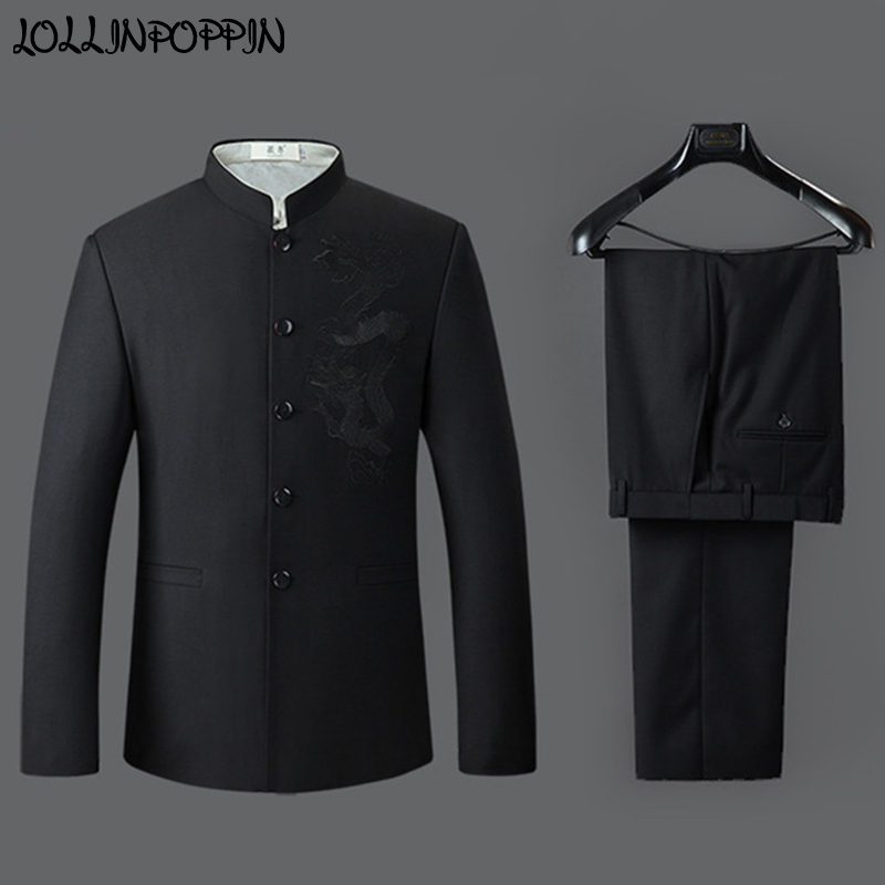 Dragon Embroidery Men Chinese Style Mandarin Collar Suits Jacket & Pants Mens Black Tunic Suit