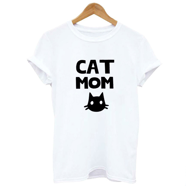 Women's Cat Mom Printed T-shirt