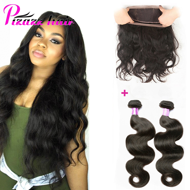 360 Lace Frontal Closure With Bundles 7A Pre Plucked Frontal With 2 Bundles Brazilian Body Wave 360 Lace Frontal With Bundle